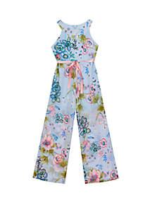 Rare Editions Girls 7-16 Blue Halter Floral Jumpsuit