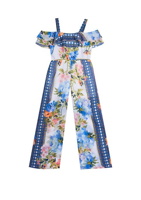 Girls 7-16 Blue Floral Chiffon Jumpsuit