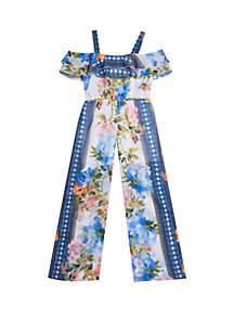 Rare Editions Girls 7-16 Blue Floral Chiffon Jumpsuit