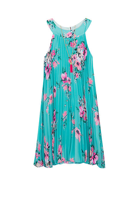 Girls 7-16 Turquoise Floral Pleated Short Dress