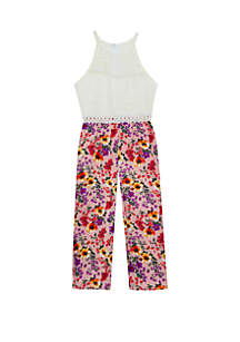 Rare Editions Girls 7-16 Ivory Lace Floral Printed Jumpsuit