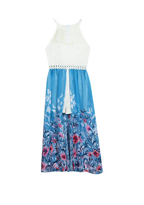Girls 7-16 White Lace to Blue Floral Walk Through Dress