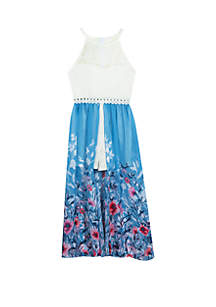 Rare Editions Girls 7-16 White Lace to Blue Floral Walk Through Dress