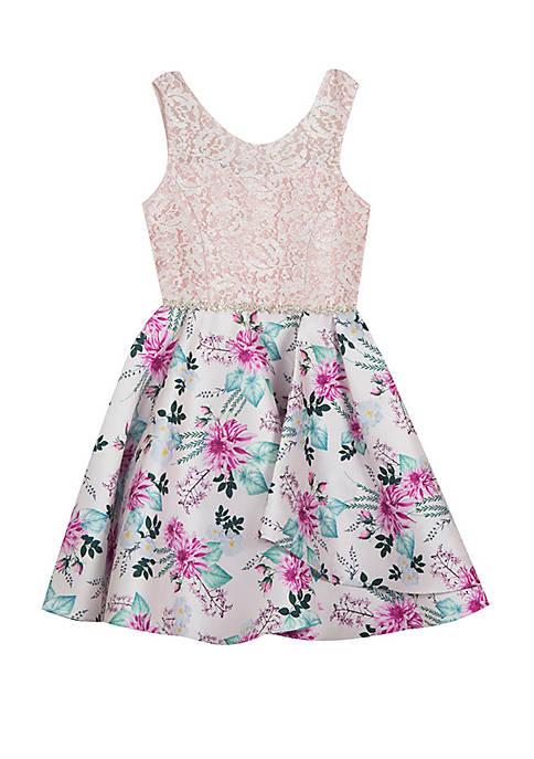 Rare Editions Girls 7-16 Glitter Blush Floral Skirt