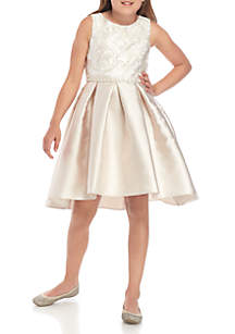 6774f10898355 ... Rare Editions Girls 7-16 Embroidered MIkado High Low Dress