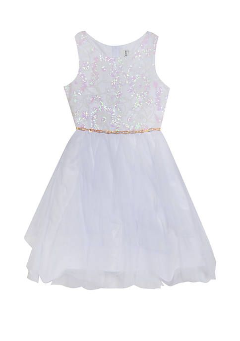 Rare Editions Girls 7-16 White Pink Sparkle Party
