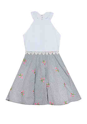 b84c278bf7fd Rare Editions Girls 7-16 White Eyelet Bodice Embroidered Skirt Dress ...