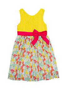 Rare Editions Girls 7-16 Yellow Lace to Print Skirt Dress