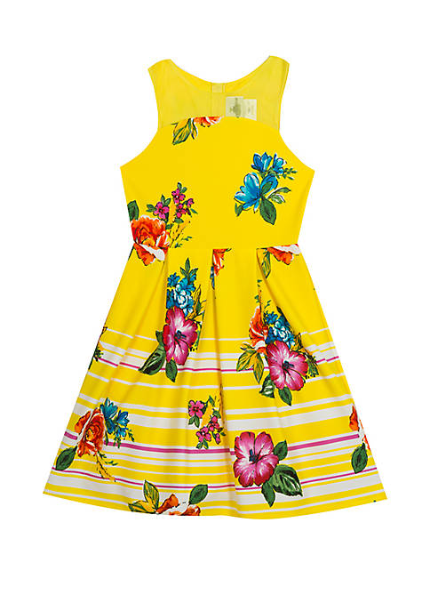 Rare Editions Girls 7-16 Yellow Floral Printed Scuba