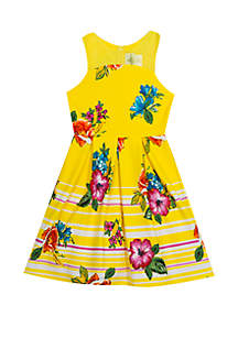 Rare Editions Girls 7-16 Yellow Floral Printed Scuba Dress