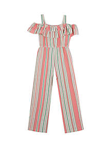 Rare Editions Girls 7-16 Coral Tan Stripe Linen Jumpsuit