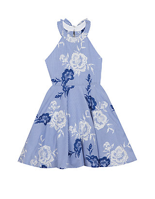 4f491ca1676 Rare Editions. Rare Editions Girls 7-16 Blue Floral Embroidered Halter Dress