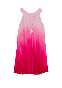 Rare Editions Girls 7-16 Ombre Fuchsia Pleated Dress
