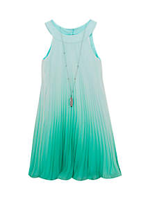 Rare Editions Girls 7-16 Ombre Mint Pleated Short Dress