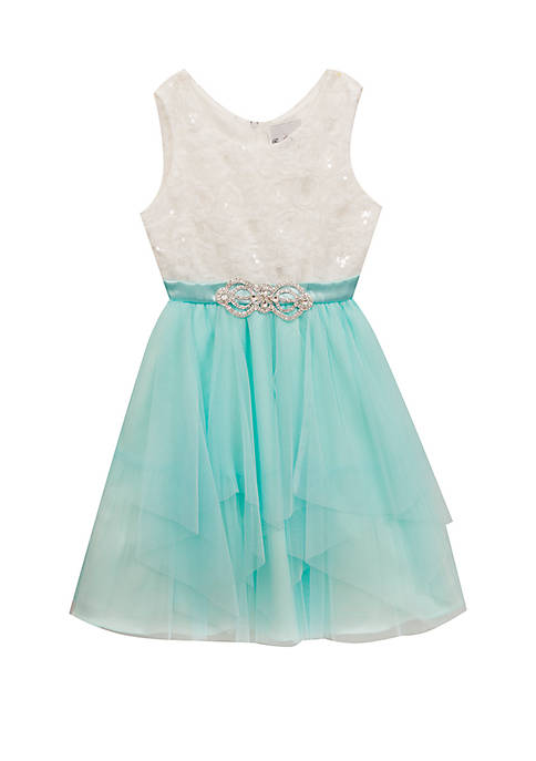 Rare Editions Girls 7-16 Ivory Glitter to Aqua