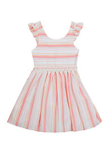 Rare Editions Girls 7-16 Ivory Stripe Linen Easter Dress