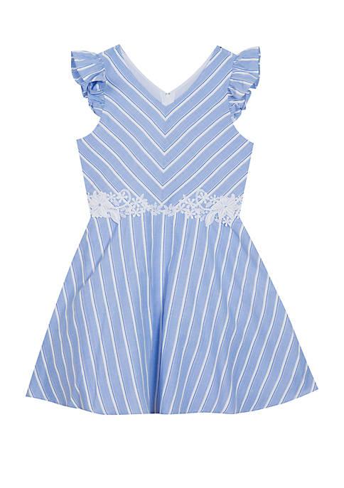 Rare Editions Girls 7-16 Blue White Stripe Linen