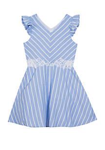 Rare Editions Girls 7-16 Blue White Stripe Linen Skater Dress