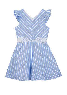 e556e9e5f4dd1 Rare Editions Girls 7-16 Blue White Stripe Linen Skater Dress ...