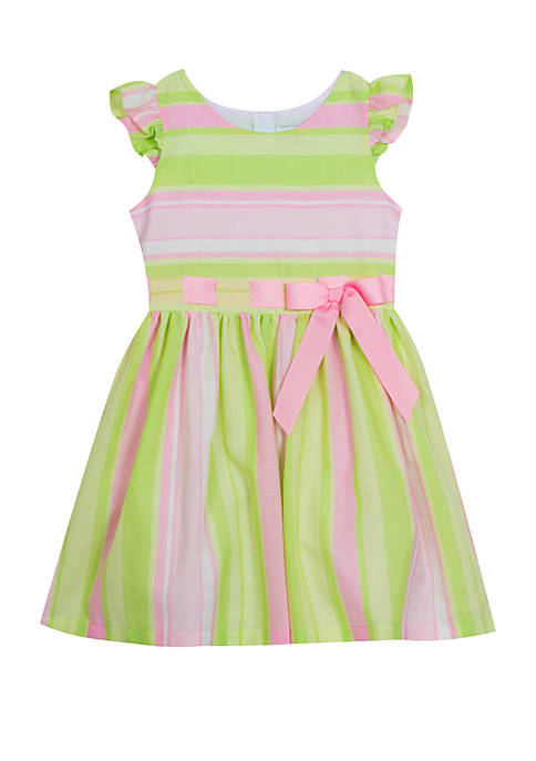 Rare Editions Girls 7-16 Pink Lime Linen Pull