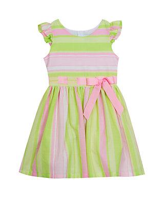 4157e2d9f254c Girls 7-16 Pink Lime Linen Pull Thru Easter Dress