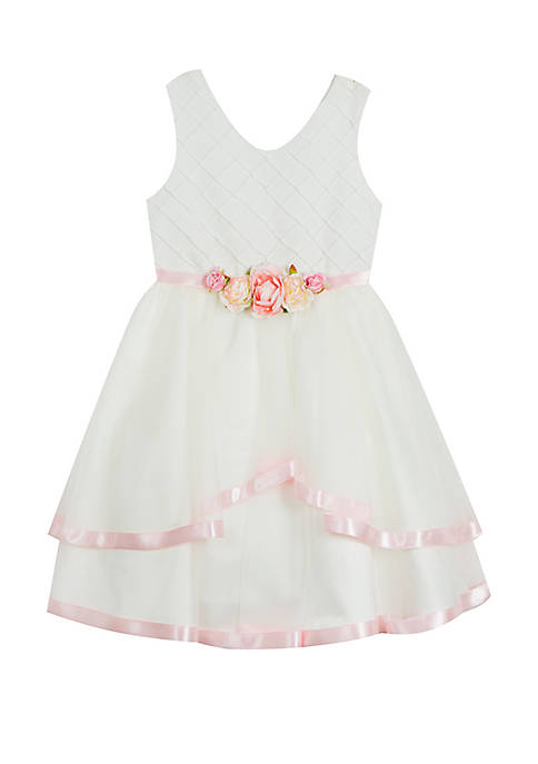 Rare Editions Girls 7-16 Ivory Princess Linen Dress