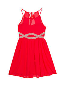 Rare Editions Girls 7-16 Coral Infinity Waist Party Dress