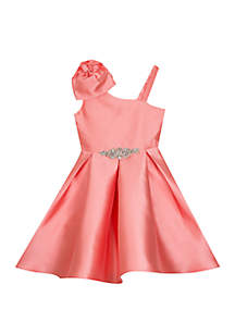 Rare Editions Girls 7-16 Coral Mikado One Shoulder Dress with Bow Detail