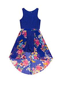 Girls 7-16 Cobalt to Floral Lace Walk Thru Dress