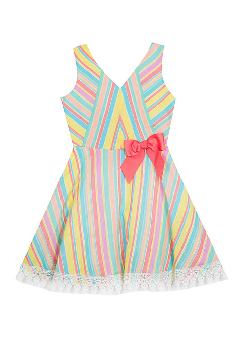 Rare Editions Girls 7-16 Multicolor Stripe Fit and