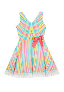 Rare Editions Girls 7-16 Multicolor Stripe Fit and Flare Linen Dress