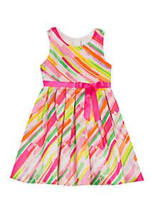 Rare Editions Girls 7-16 Multi Watercolor Midi Stripe Dress