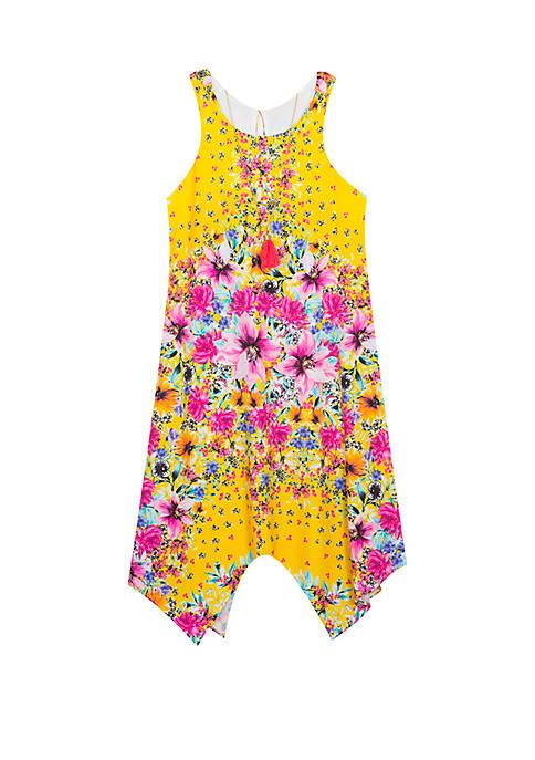 Girls 7-16 Yellow Floral Handkerchief Hem Dress