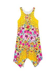 Rare Editions Girls 7-16 Yellow Floral Handkerchief Hem Dress
