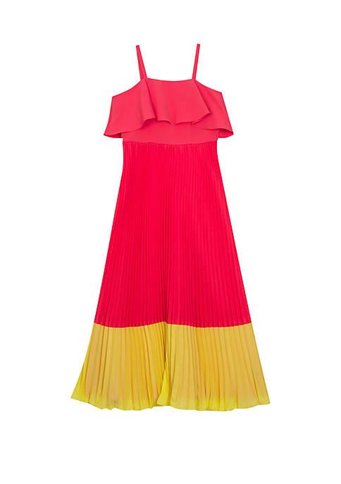 Girls 7-16 Colorblock Coral Yellow Pleated Midi Dress