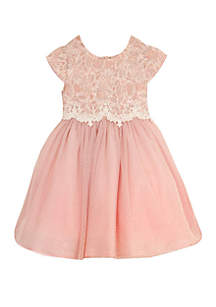 Rare Editions Girls 7-16 Blush Glitter Lace Dress