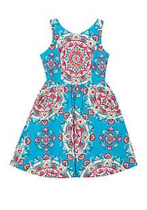 Rare Editions Girls 7-16 Turquoise Medallion Dress