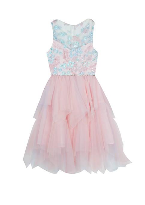 Rare Editions Girls 7-16 Pink Blue Illusion Dress
