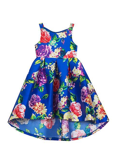 Rare Editions Girls 7-16 Royal Floral Mikado Dress