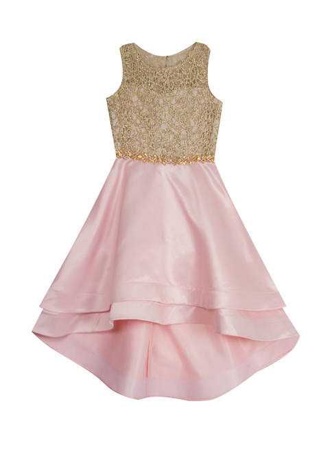 Rare Editions Girls 7-16 Gold Cord Embellished Blush