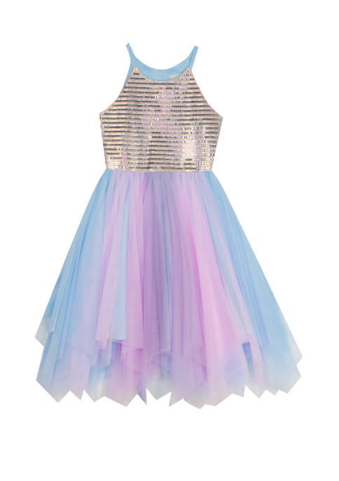 Rare Editions Girls 7-16 Rhinestone Fairy Hem Dress