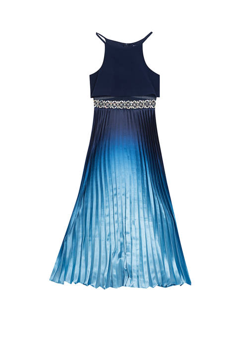 Rare Editions Girls 7-16 Blue Ombre Popover Pleated