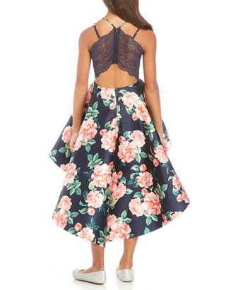 Girls Fancy 2 Piece Set Floral Top /& Salmon Skirt Sizes 2 to 14