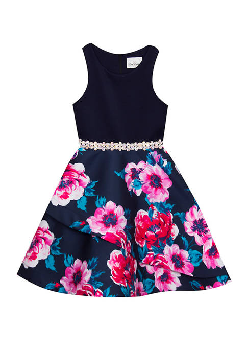 Rare Editions Girls 7-16 Navy Floral Short Occasion