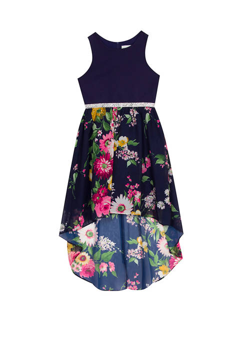 Girls 7-16 Scuba to Printed Floral High Low Dress