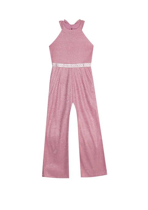 Rare Editions Girls 7-16 Sparkle Halter Bowback Jumpsuit