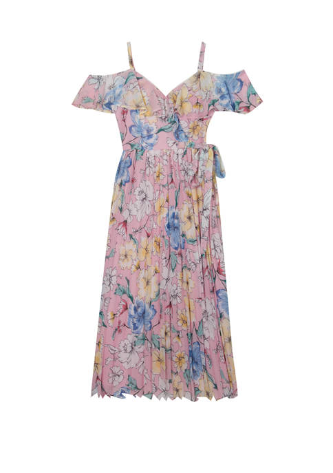 Rare Editions Girls 7-16 Blush Blue Floral Pleated