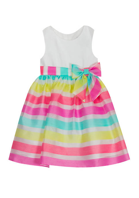 Rare Editions Girls 7-16 Sleeveless Ribbon Stripe Young