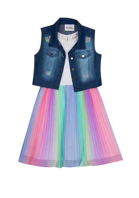 Rare Editions Girls 7-16 Denim Vest to Rainbow