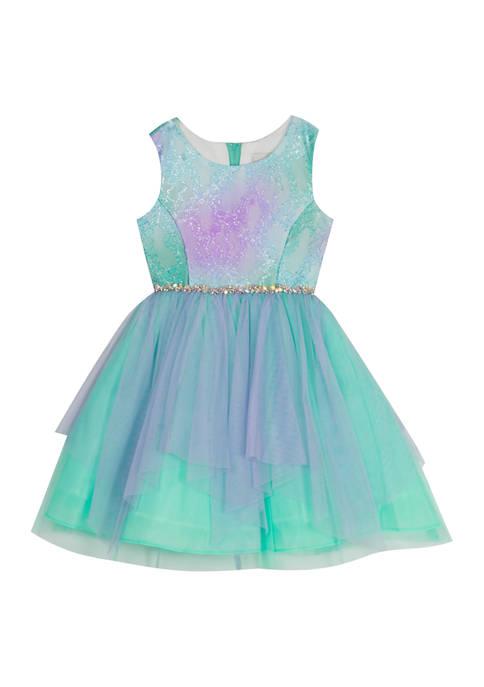 Girls 7-16 Two-Tone Lace Bodice Mesh Skirt Dress